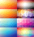 Colorful set of polygonal backgrounds