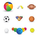 Collection of colorful sports balls illustration Royalty Free Stock Images