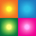 Collection of colorful sunburst abstract background vector illus Royalty Free Stock Photo