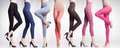 Collection of colorful tights and stockings on woman legs Royalty Free Stock Photo
