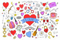 Collection of colorful valentines day elements in doodle style.