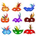 Collection of colorful Venetian face mask for carnival Royalty Free Stock Photo
