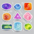 Collection of Colorful Watercolor Speech And Thought Bubbles. Vector illustration in colors.