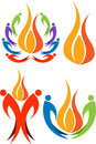 Collection colourful flame logos Stock Photo