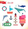 Collection of comic marine elements set of decorative childish icons ships whale blower shark dolphin submarine boat bark Stock Photos