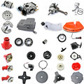Collection of components string trimmers spare parts in disassembled form gasoline engine lawn cleaning mechanical Royalty Free Stock Images