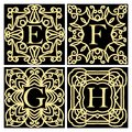 Collection of concepts for luxury monograms or logos. Emblem or frame. Set of design elements for the letters E, F, G, H. Golden i Royalty Free Stock Photo