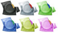 A collection of condoms illustration on white background Royalty Free Stock Photography