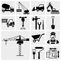 Collection of construction vector icons set isolated on grey background eps file available Royalty Free Stock Photography