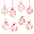 Collection of contour Christmas balls Royalty Free Stock Photos
