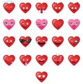 Cool Heart shapes Emoticons set 1