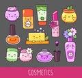 Collection of cosmetics. Nail polish, lipstick, lip gloss, cream jar, soap