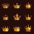 Collection of crown silhouette. Monarchy authority and royal symbols. Golden vintage antique icons. Crown symbol for your web site