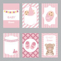 Collection of cute baby girl card