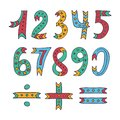 Hand drawn sketched and doodled kids numbers isolated on white background. Royalty Free Stock Photo