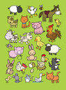 Collection of cute farm animal cartoons a huge Stock Images