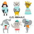 Collection of cute kids cartoon animals with clothes and accessories. Set of wild characters in scandinavian style.