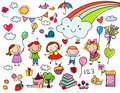 Collection of cute kids' drawings of animals, plants and celestial elements Royalty Free Stock Photo
