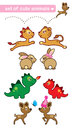 Collection cute little deers lions dragons dinosaurs rabbits isolated white Stock Photo
