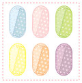 Collection of cute oval tags colored Stock Images