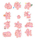 Collection of cute pink elephants Royalty Free Stock Photo