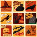 Collection of cute retro stylized halloween