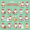 Collection of cute Santa Claus characters with reindeer, bear, snowman and gifts
