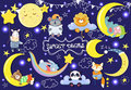 Collection with cute sleeping animals. Moons and stars.