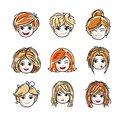 Collection of cute smiling girls faces expressing positive emoti