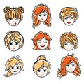 Collection of cute smiling girls faces expressing positive emotions, vector human head illustrations. Set of red-haired and blond