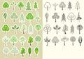 Collection de trees vector d éléments de conception d isolement pour la conception Photo libre de droits