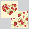 Collection of decorative heart shape with flowers and floral ornaments with flowers.