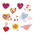 Collection of Decorative Hearts Stock Photo