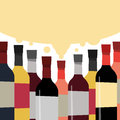 A collection of delicious wines. Bottles of alcoholic beverage. Royalty Free Stock Photo