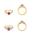 Collection of diamond rings Royalty Free Stock Photo