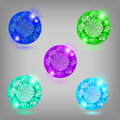 Collection of diamonds vector illustration colored eps rgb created using transparency gradient mesh and blending modes Royalty Free Stock Photography