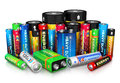 Collection of different batteries group size color isolated on white background with reflection effect Stock Images