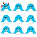 Collection of Different Cartoon Penguins isolated on white background. Different Emotions, Expressions. Anime Style. Vector.