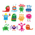 Collection of different colored cute funny monsters Royalty Free Stock Photo