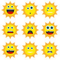 Collection of 9 different emoticons in sun shape