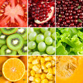 Collection with different fruits, berries and vegetables Royalty Free Stock Photo