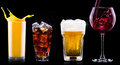 Collection of different images alcohol isolated on a black background Stock Photo