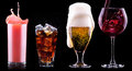 Collection of different images alcohol isolated on a black background Royalty Free Stock Image