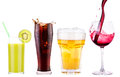 Collection of different images alcohol isolated on a white background Stock Images
