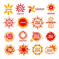 Collection of different logos for solarium vector Stock Photos