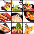 Collection different meat dishes soup bbq porky beaf salad sea food Royalty Free Stock Photography