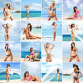 Collection of different pictures with beautiful models posing on a summer beach Royalty Free Stock Photos