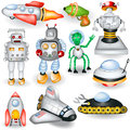 A collection of different retro future icons Stock Image
