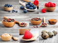 Collection of different spices and berry on wooden background Royalty Free Stock Photos