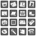 A collection of different squared press icons Royalty Free Stock Photos